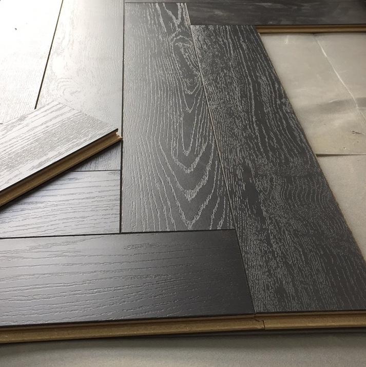 Sample Herringbone 12mm Dark Black, Black Laminate Flooring