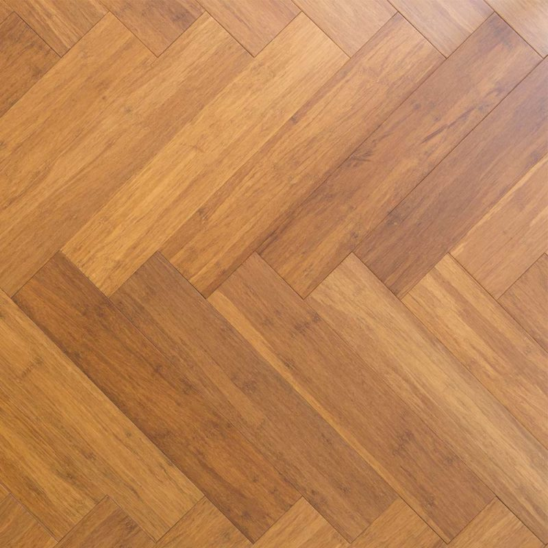 Carbonised Stranded Woven 12mm Herringbone Bamboo Flooring
