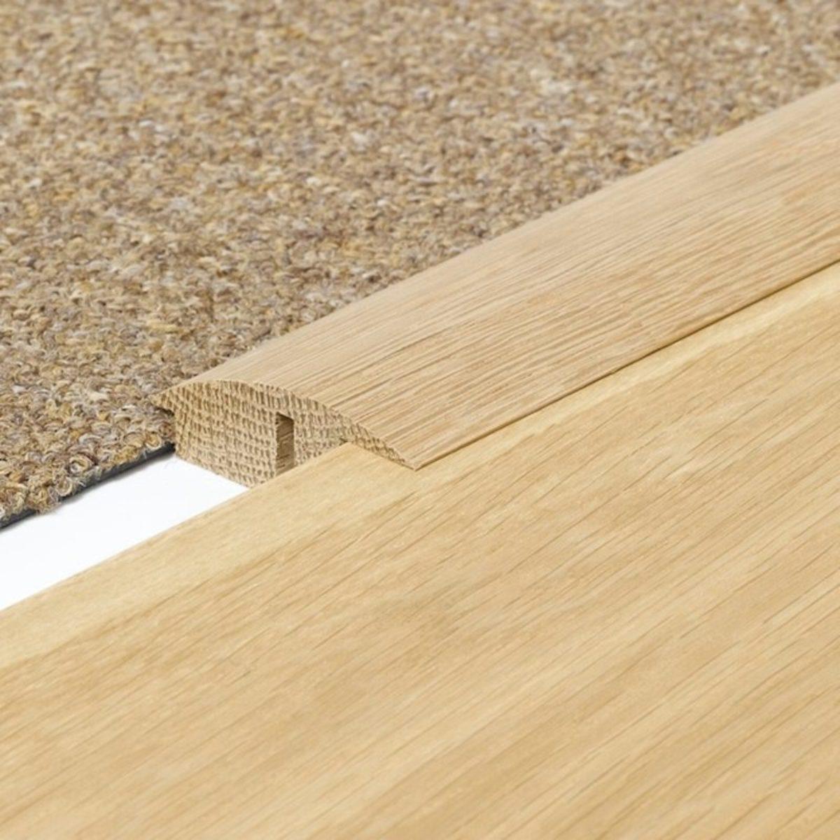 Solid Oak Semi Ramp Threshold Door, Laminate Flooring To Carpet Threshold Strips