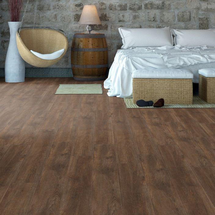 Pro 8mm Mocha Oak Effect Luxury Vinyl Click Flooring