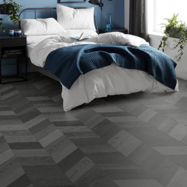 London Style 8mm Dark Grey Laminate Chevron Flooring