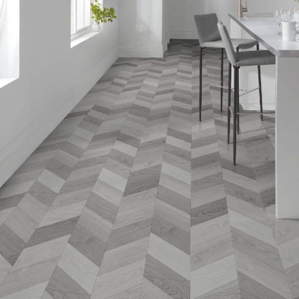 London Style 8mm Light Grey Laminate Chevron Flooring