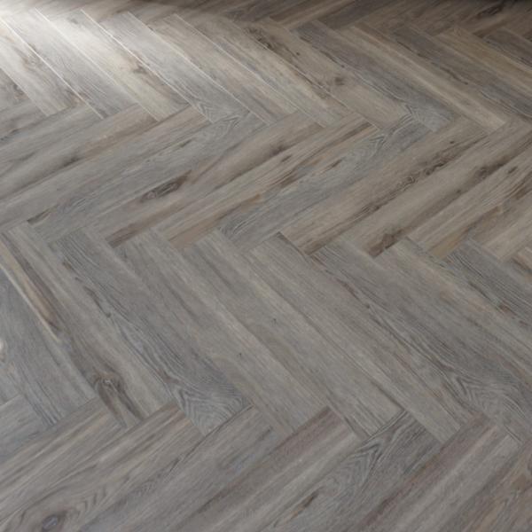 Fusion Herringbone 12mm Volcanic Grey Oak 4V Laminate Flooring