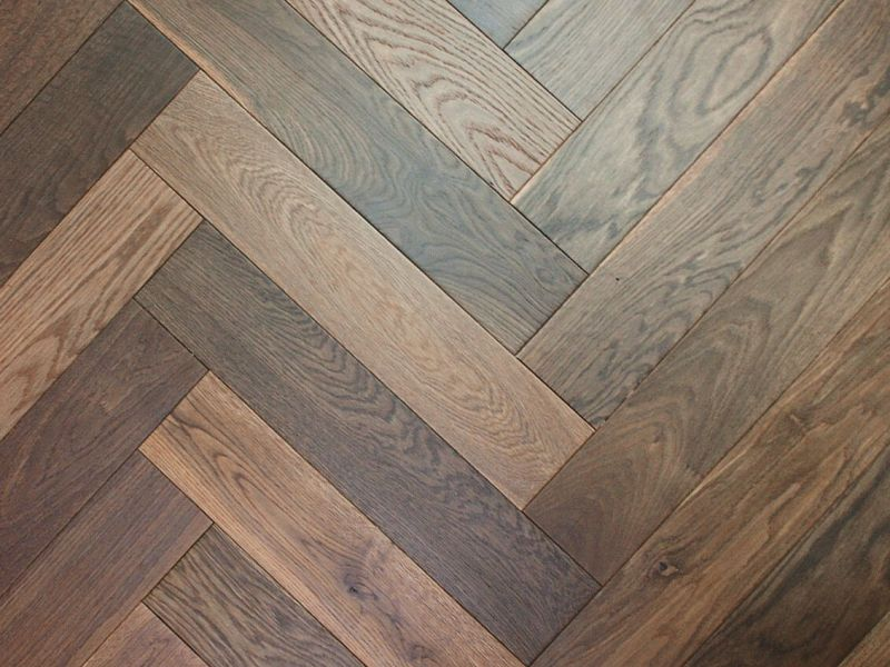 Strata 14/3 x 90mm Double Smoked Oak Herringbone Engineered Flooring