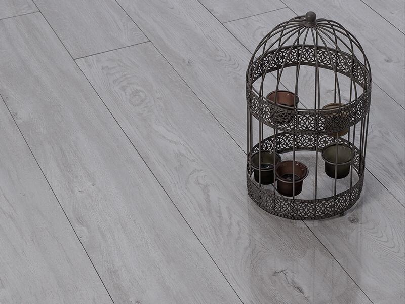 Fusion Gloss 12mm Pearl Grey Oak 4V Groove Laminate Flooring