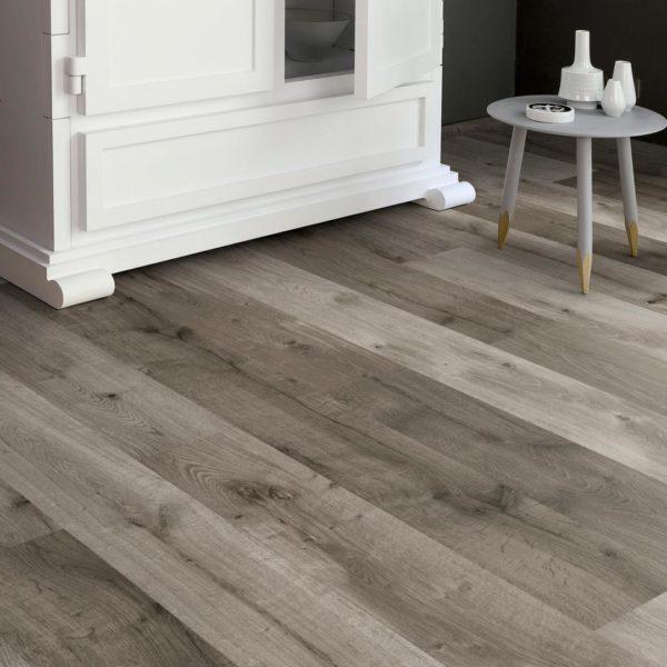 Home High Gloss 8mm Distressed Grey Oak 4V Laminate Flooring