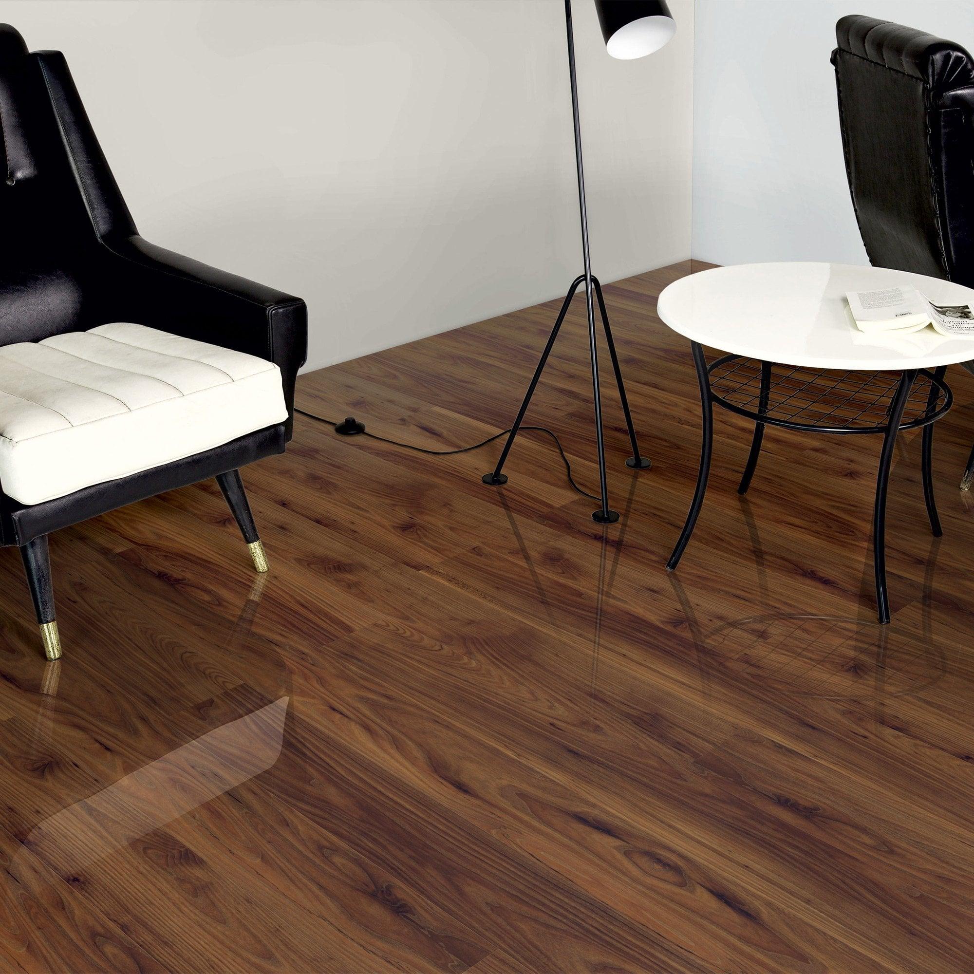 Home High Gloss 8mm Walnut Acacia 4V Laminate Flooring