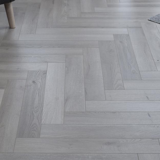 Fusion Herringbone 12mm Embossed Grey Oak 4V Laminate Flooring