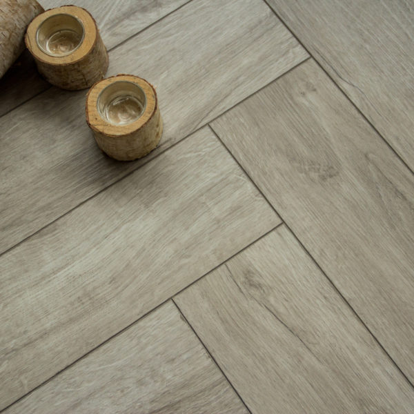 Boutique Herringbone 5mm Light Feather Grey Oak Luxury Vinyl Click Flooring